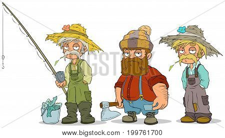 Cartoon fisherman farmer lumberjack characters with fishing rod and axe vector characters set