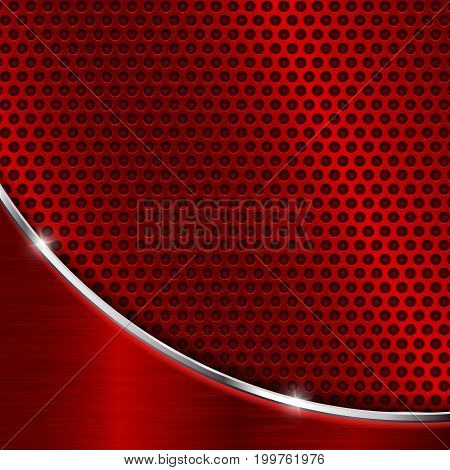 Red metal perforated background. Vector 3d illustration
