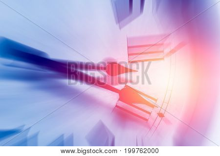 clock time with zoom motion blur moving pass focus fast speed business hour concept.