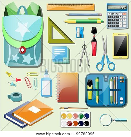Vector colorful illustration of set school accessories