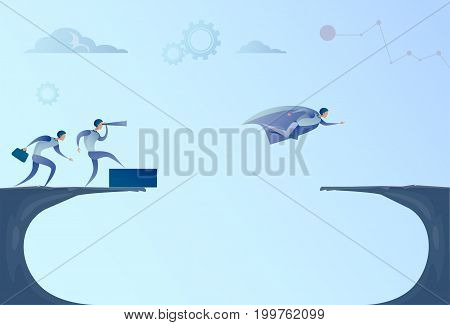 Business People Team Looking With Binocular On Businessman Leader Flying Over Gap Success Concept Vector Illustration