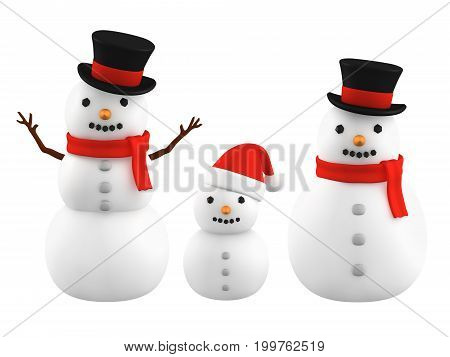 Snowmen wearing silk hat and santa hat, 3D illustration