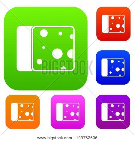 Cheese set icon in different colors isolated vector illustration. Premium collection