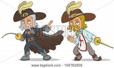 Cartoon standing musketeer in hat with sword characters vector set