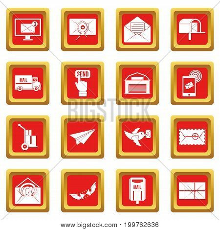 Poste service icons set in red color isolated vector illustration for web and any design