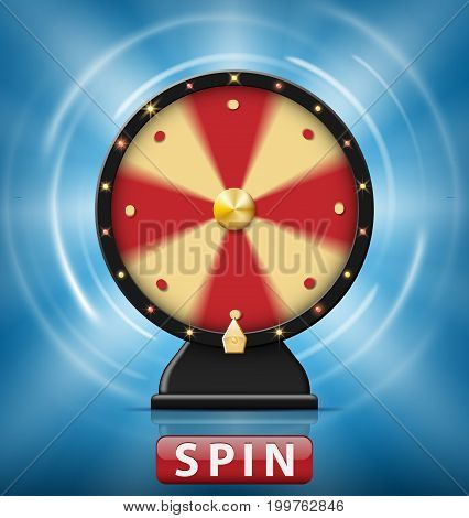 Realistic 3d spinning fortune wheel isolated with Spin button. Wheel of fortune with glowing lamps for online casino. Vector illustration EPS 10