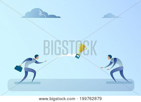 Business People ThrowingWinner Cup Successful Teamwork Concept Flat Vector Illustration