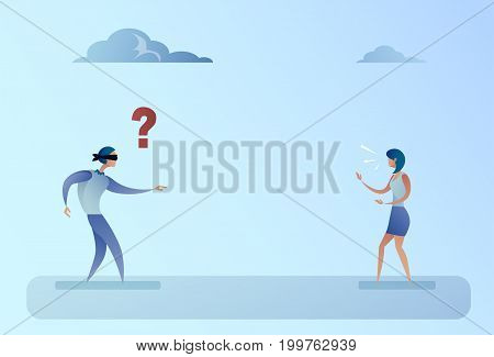 Business Man Blind Forded Walk On Businesswoman Voice Direction Support Concept Vector Illustration
