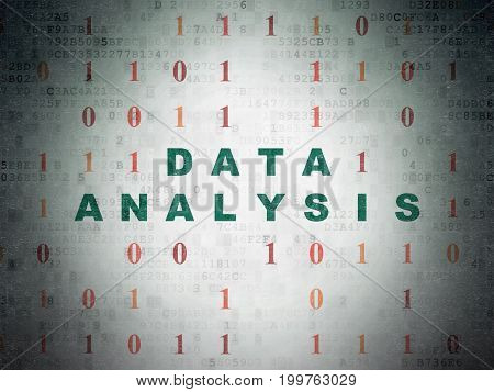 Information concept: Painted green text Data Analysis on Digital Data Paper background with Binary Code
