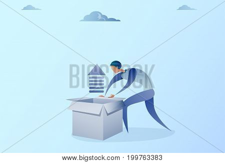 Business Man Opening Box With Financial Arrow Up Development Growth Concept Vector Illustration