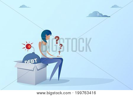 Business Woman Sitting On Bomb Credit Debt Finance Crisis Concept Flat Vector Illustration