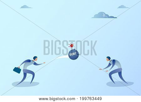 Business Men Throwing Each Other Bomb Credit Debt Finance Crisis Concept Flat Vector Illustration