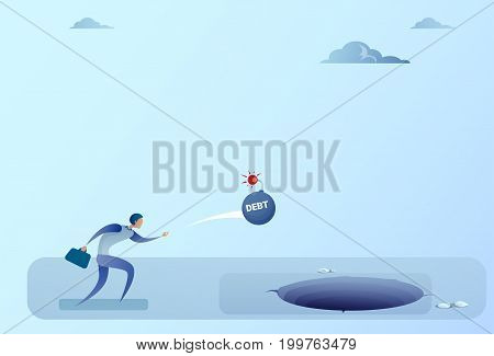 Business Man Throwing Bomb Credit Debt In Hole Freedom Finance Crisis Concept Flat Vector Illustration