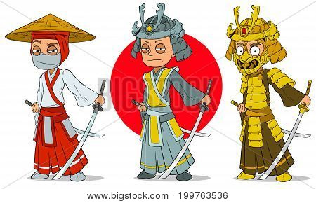 Cartoon asian ninja samurai with sword helmet and mask characters vector set