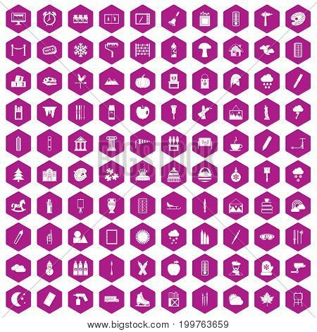 100 drawing icons set in violet hexagon isolated vector illustration