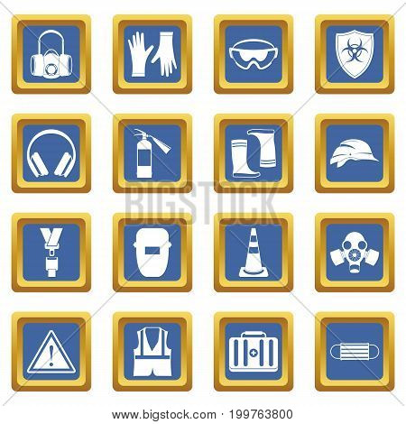Safety icons set in blue color isolated vector illustration for web and any design