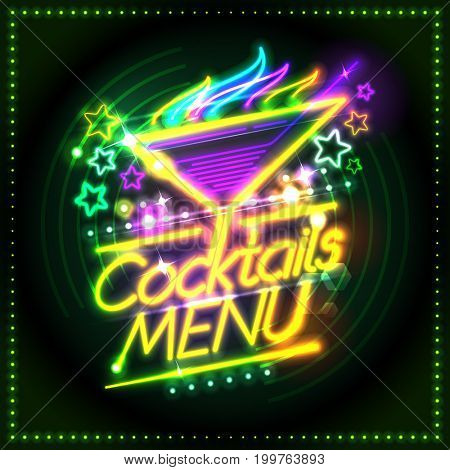 Cocktails menu card design, neon lights style, burning cocktail and stars, raster version