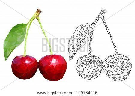 Cherries. Polygonal 3d vector illustration isolated on white background