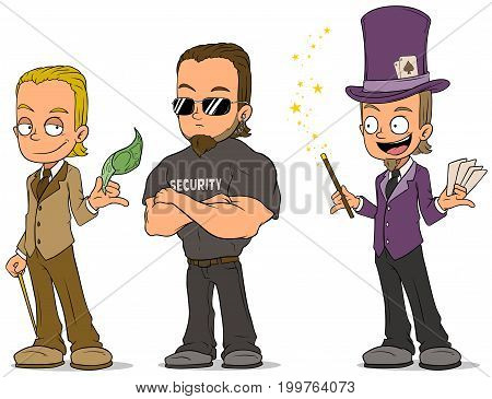 Cartoon magician with cards businessman and strong security characters vector set