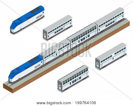 Isometric vector two-story long-distance passenger train closeup. Modern Fast Passenger double decker Train. Railway carriage. Vehicles designed to carry large numbers of passengers