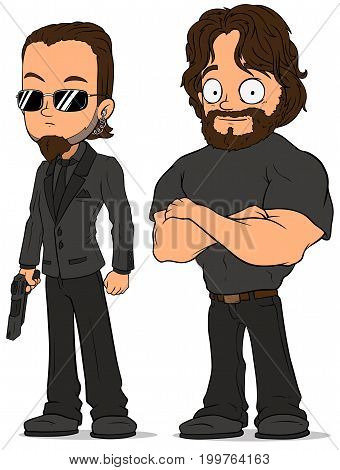Cartoon strong secret agent in black uniform with gun characters vector set