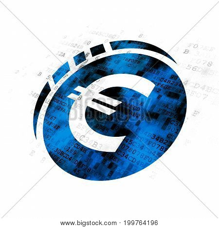 Currency concept: Pixelated blue Euro Coin icon on Digital background