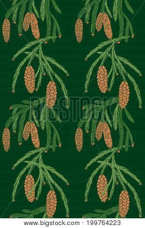 seamless pattern with a branch of pine tree and cones on dark green background