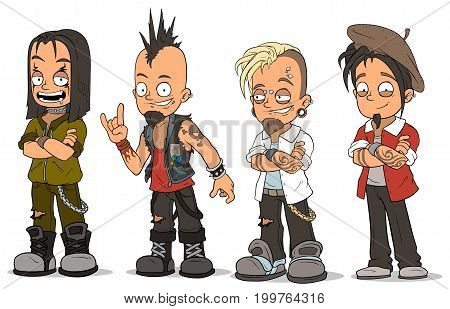 Cartoon cool punk rock metal guys with tattoo and piercing characters vector set