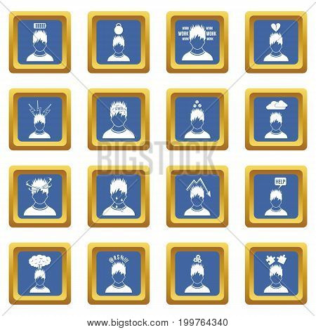 Stress icons set in blue color isolated vector illustration for web and any design