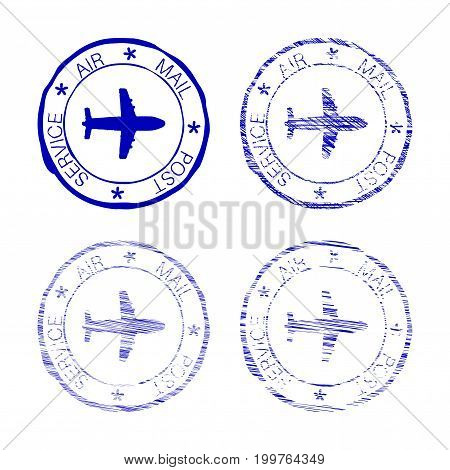 Air mail post service faded round stamp. Vector illustration