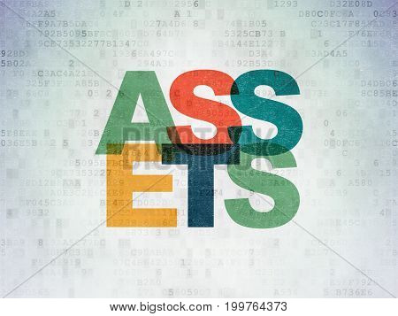 Money concept: Painted multicolor text Assets on Digital Data Paper background