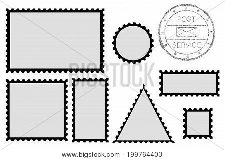 Blank post stamp shape - rectangle, triangle, circle, square. With black border. Vector illustration