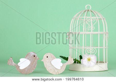 Wedding decoration: Two birds next to white bird cage