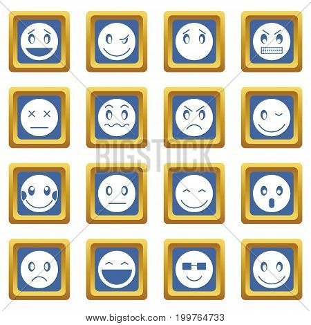 Emoticon icons set in blue color isolated vector illustration for web and any design