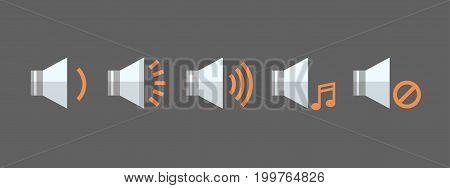 Music Player Volume Icon Set Audio Listening App Interface Button Flat Vector Illustration