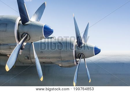 Screws of military huge aircraft. Airforce background.aa\