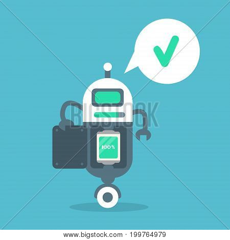 Modern Robot Full Battery Charge Message Artificial Intelligence Technology Concept Flat Vector Illustration