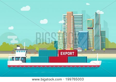 Big container ship sailing in ocean or sea port with lots of cargo containers vector illustration, flat carton design shipping transportation vessel or containership floating near city shore