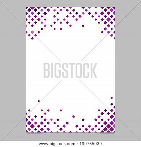 Diagonal square pattern page border template - vector graphic design from rounded squares in purple tones with white background for stationery