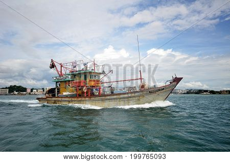 Commercial Fishing Boats In The Morning At Kota Kinabalu