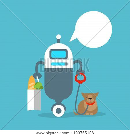 Modern Robot Helping With House Work Artificial Intelligence Technology Concept Flat Vector Illustration