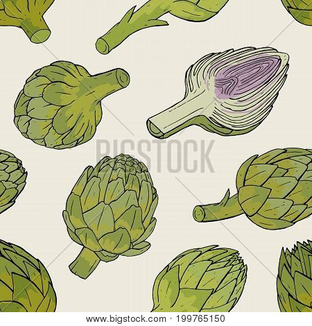 Artichoke seamless pattern with hand drawn cutaway plant. Colorful vector illustratio