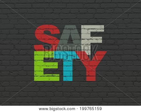 Privacy concept: Painted multicolor text Safety on Black Brick wall background