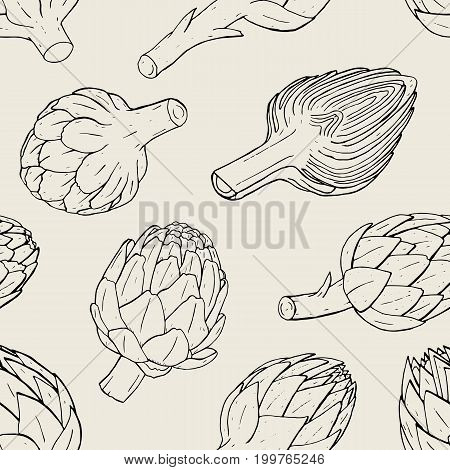 Artichoke seamless pattern with hand drawn cutaway plant. Contour vector illustratio