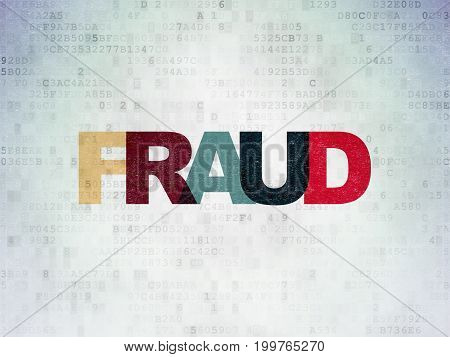 Security concept: Painted multicolor text Fraud on Digital Data Paper background