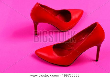 Pair Of Elegant Female Shoes On Pink Background