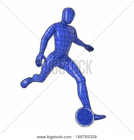 Futuristic wireframe human figure kicking a soccer ball. vector illustration