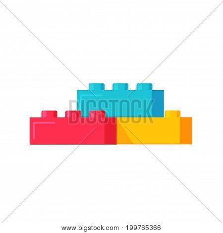 Blocks constructor toys vector illustration, flat cartoon plastic color building blocks construction or bricks toy isolated