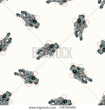Astronaut in spacesuit seamless pattern. Cosmonaut in space on white background. Colorful vector illustration