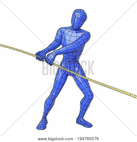 Futuristic wireframe human figure pulling a rope with the hands. vector illustration